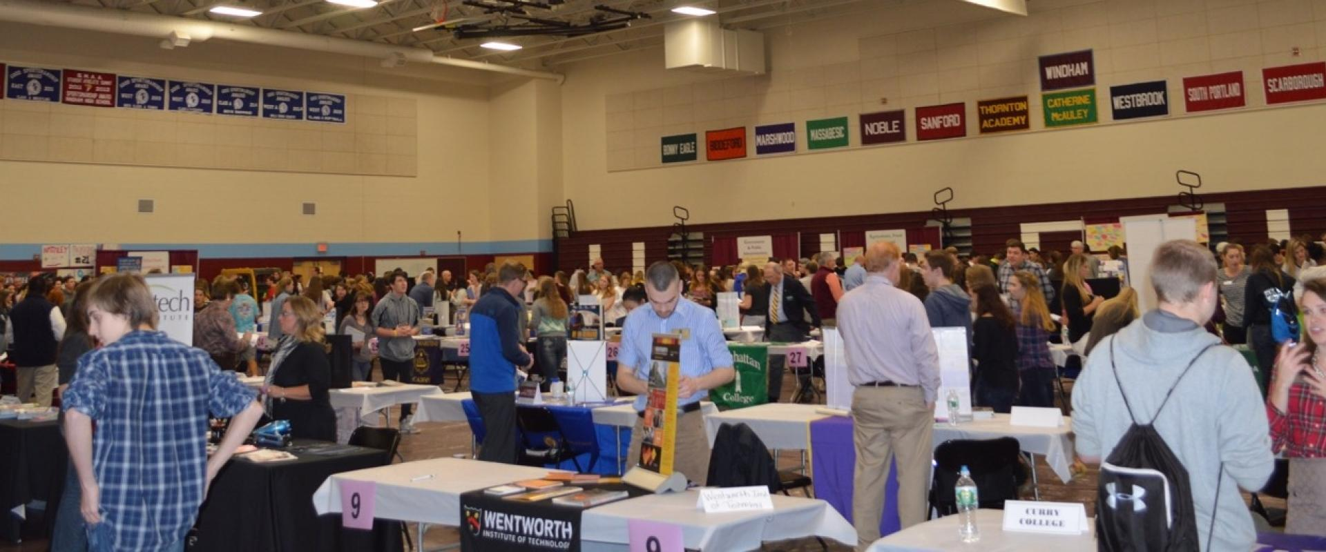 Panoramic view of Windham High School Career & College Fair